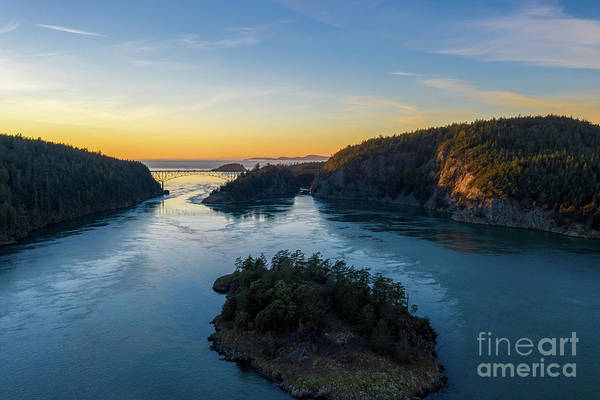 Wall Art - Photograph - Over Deception Pass At Sunset by Mike Reid