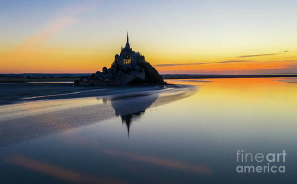 Wall Art - Photograph - Over France Mont St Michel Sunset Reflection by Mike Reid