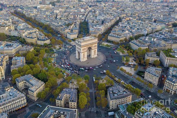 Wall Art - Photograph - Over Paris Arc De Triomphe Dusk Light by Mike Reid