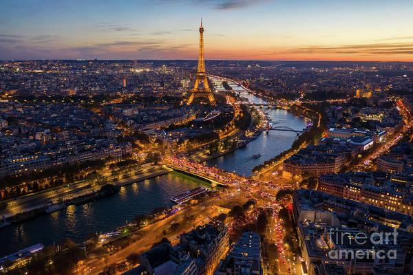 Palais Photograph - Over Paris Eiffel Tower Nightscape Along The Seine by Mike Reid