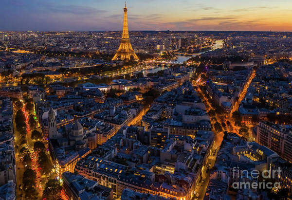 Palais Photograph - Over Paris Night Landscape Leads To The Eiffel Tower by Mike Reid