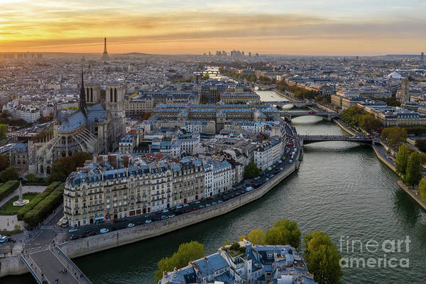 Palais Photograph - Over Paris Notre Dame And The Seine At Dusk by Mike Reid