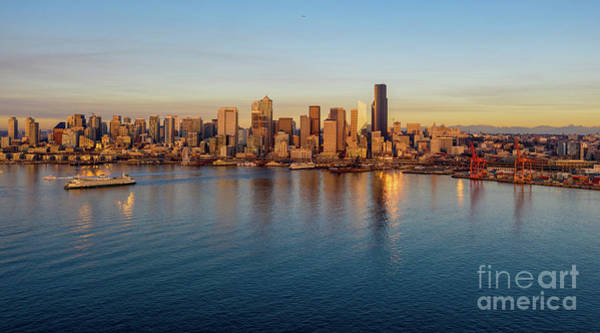 Wall Art - Photograph - Over Seattle Elliott Bay Serenity by Mike Reid
