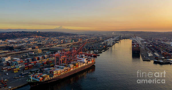 Wall Art - Photograph - Over Seattle Port Of Seattle Sunset by Mike Reid