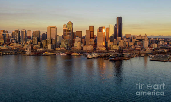 Wall Art - Photograph - Over Seattle The Golden Skyline by Mike Reid