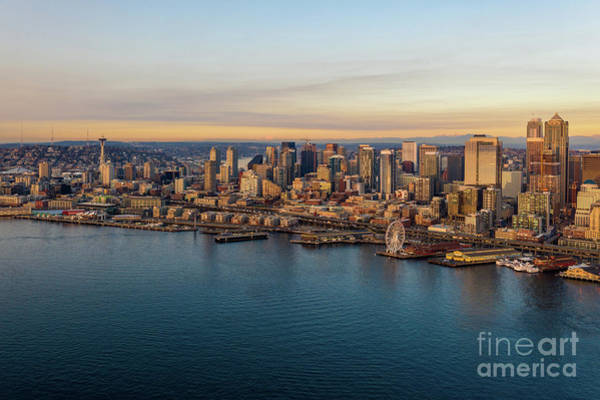 Wall Art - Photograph - Over Seattle The Waterfront In Golden Sunset Light by Mike Reid