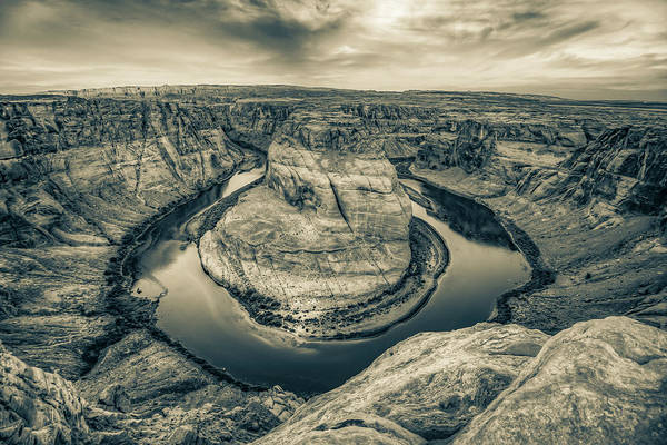 Photograph - Over The Edge Of Horseshoe Bend - Sepia Edition by Gregory Ballos