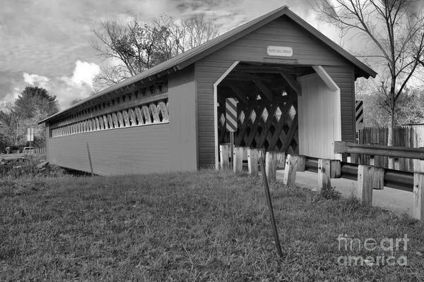 Photograph - Overcast At The Papermill Covered Bridge Black And White by Adam Jewell