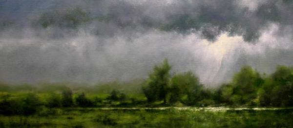 Stream Wall Art - Painting - Overcast Day At The Refuge by Jim Gola