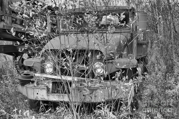 Photograph - Overgrown Around The Tanker Black And White by Adam Jewell
