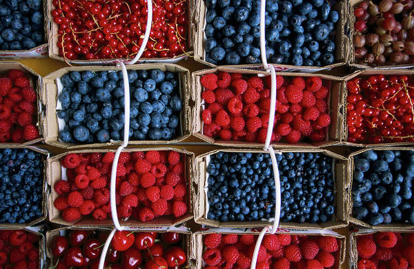 Canada Photograph - Overhead Of Punnets Of Berries, Jean by Rick Gerharter