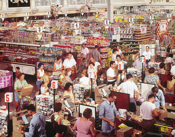 Buy Photograph - Overhead Of Stacked Shelves Of Food At S by John Dominis