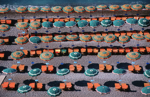 Wall Art - Photograph - Overhead Of Umbrellas, Deck Chairs On by Dallas Stribley