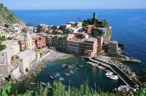 Vernazza Photograph - Overhead Of Vernazza And Harbour by John Elk Iii