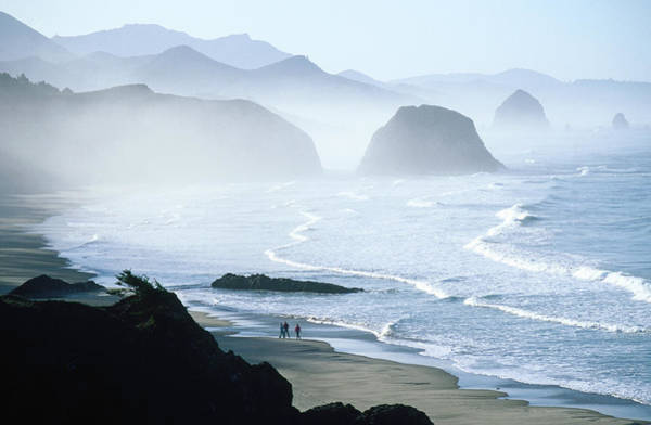Headlands Photograph - Overhead Of Walkers, Cannon Beach by Ann Cecil