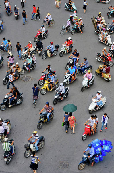 On The Move Photograph - Overhead View Of Motorbike Traffic by Rwp Uk