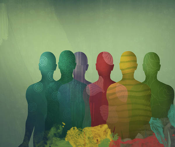 Wall Art - Photograph - Overlapping Different Colored Male by Ikon Images