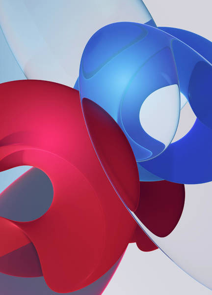 Wall Art - Photograph - Overlapping Merging Blue And Red Shapes by Ikon Images