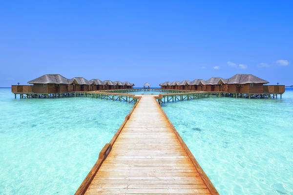 Beach Hut Photograph - Overwater Bungalows Boardwalk by Cinoby