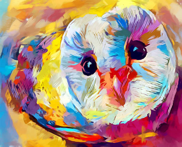 Happy Little Trees Painting - Owl 3 by Chris Butler