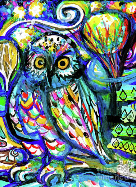 Snow Owl Painting - Owl Abstract by Genevieve Esson
