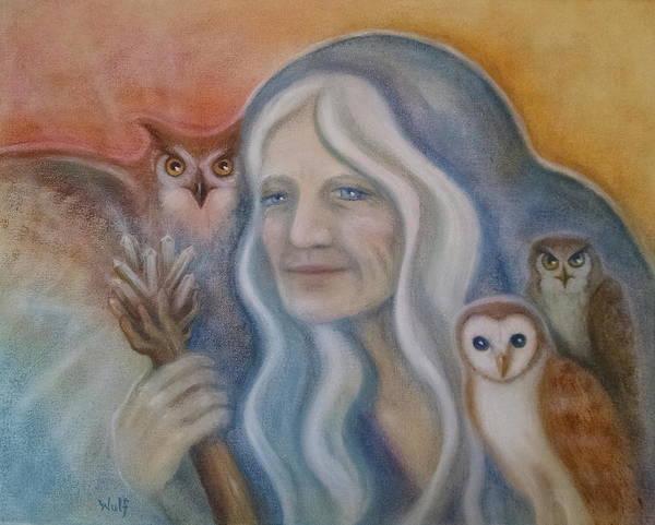 Painting - Owl Crone by Bernadette Wulf