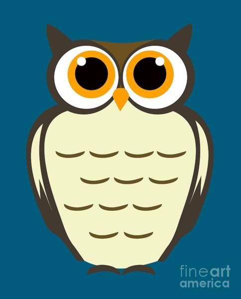 Digital Art - Owl Illustration by David Millenheft