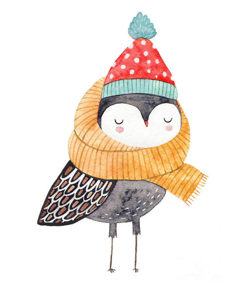 Bird Watercolor Digital Art - Owl In A Scarf And Hat - Watercolor by Lenaer