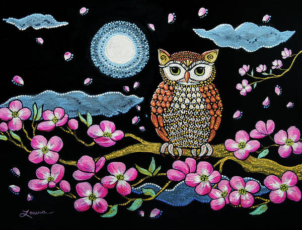 Owl Painting - Owl In Dogwood Blossoms by Laura Iverson