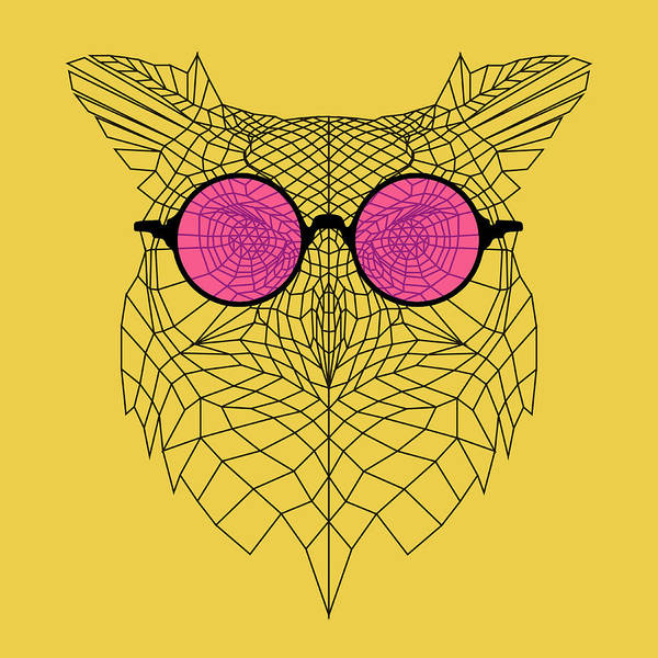 Bobcat Wall Art - Digital Art - Owl In Pink Glasses by Naxart Studio