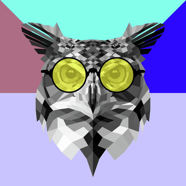 Bobcat Wall Art - Digital Art - Owl In Yellow Glasses by Naxart Studio