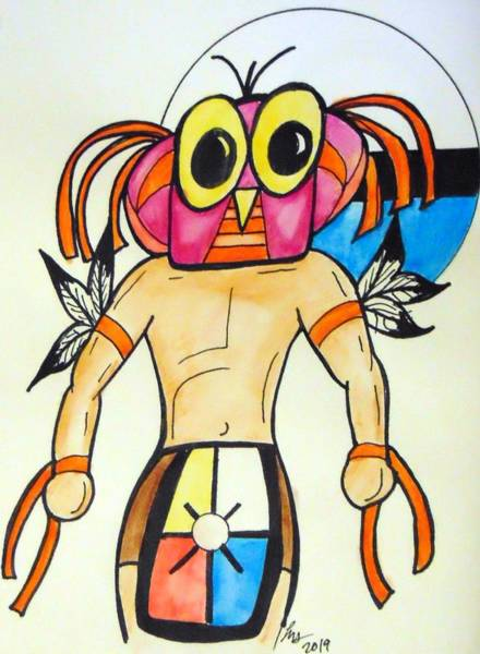 Drawing - Owl Kachina by Loretta Nash
