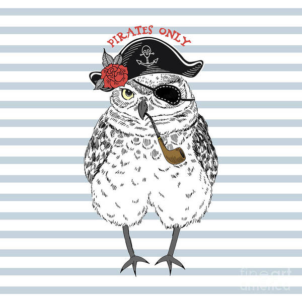 Wall Art - Digital Art - Owl Pirate, Nautical Poster, Hand Drawn by Olga angelloz