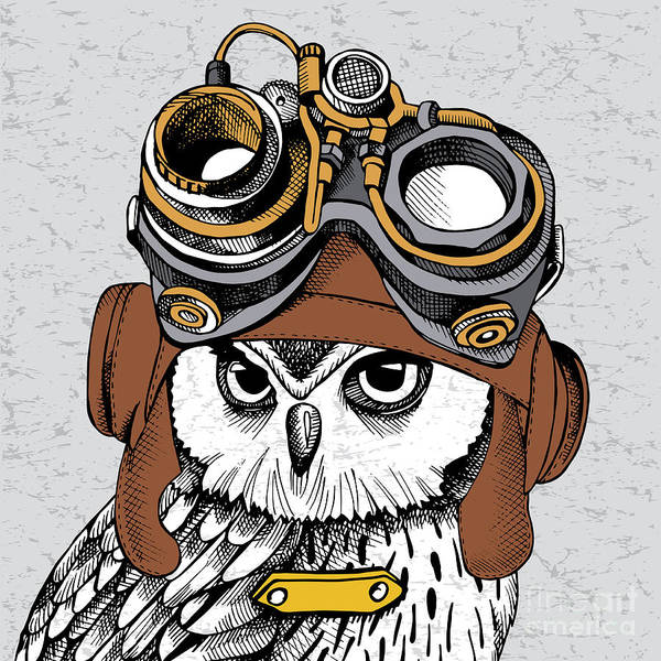 Wall Art - Digital Art - Owl Portrait In A Steampunk Helmet by Afishka