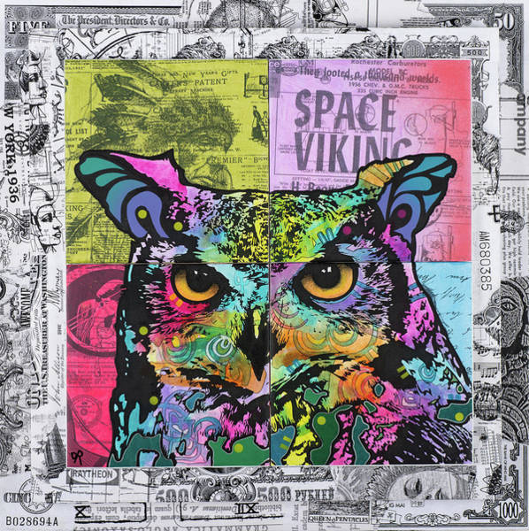 Owl Painting - Owl Space Viking by Dean Russo Art