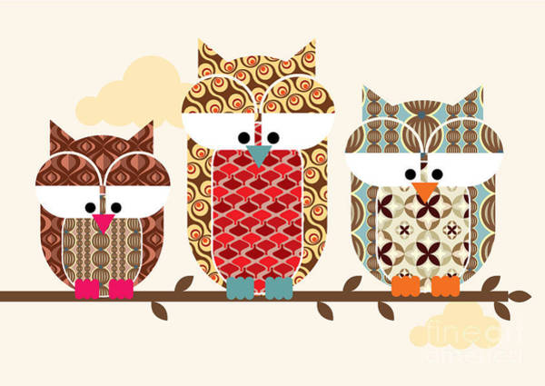 Wall Art - Digital Art - Owl Vectorillustration by Lyeyee