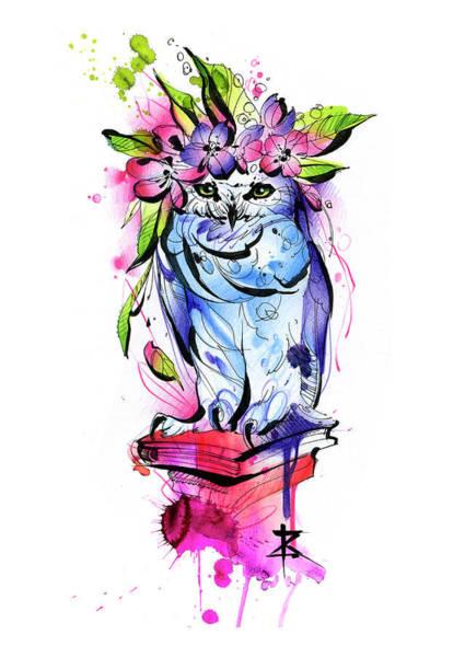 Flower Digital Art - Owl With Flowers by Kateryna Zelenska
