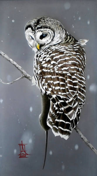Painting - Owl With Her Catch by Alina Oseeva