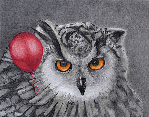 Drawing - Owl With The Red Balloon by Tim Ernst