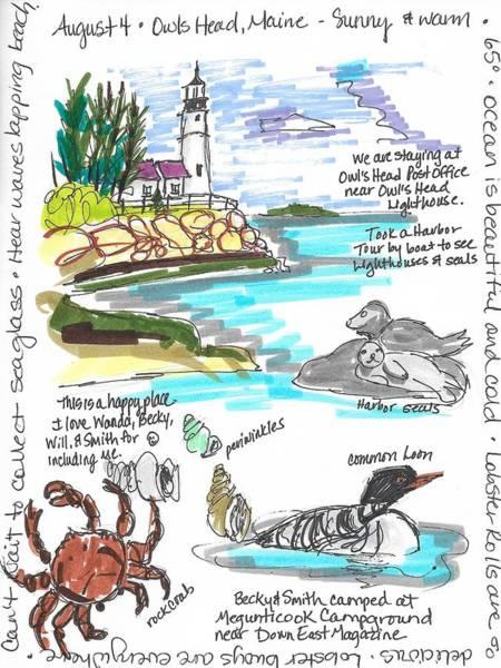 Wall Art - Painting - Owl's Head Lighthouse by Susan Elizabeth Jones