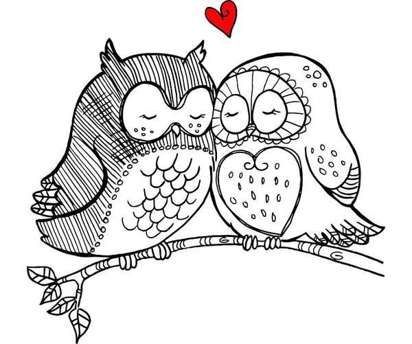 Digital Art - Owls In Love 121 by Ericamaxine Price