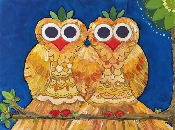 Owls On A Branch Art Print
