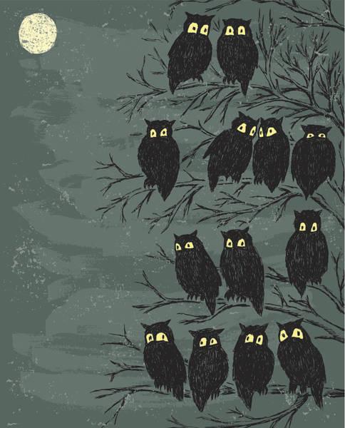 Individuality Digital Art - Owls On A Tree by Mubai