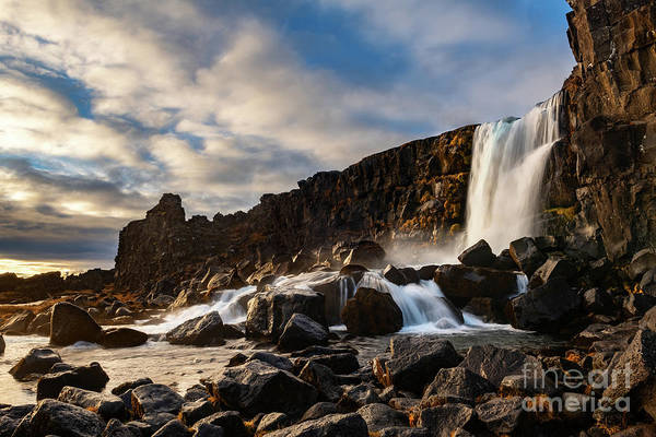 Wall Art - Photograph - Oxarafoss Sunset by Jamie Pham