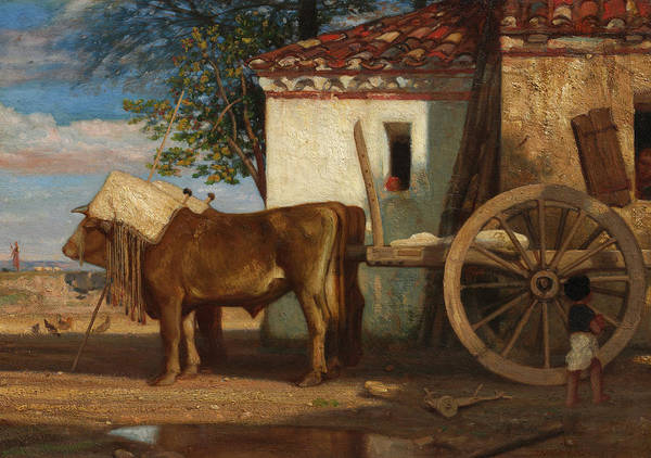 Wall Art - Painting - Oxen Before A Farmhouse At Le Verrier, 1853 by Alexandre-Gabriel Decamps