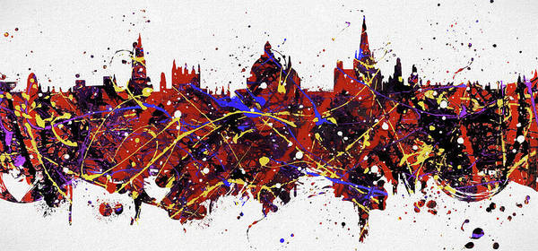 Painting - Oxford Colorful Skyline by Dan Sproul