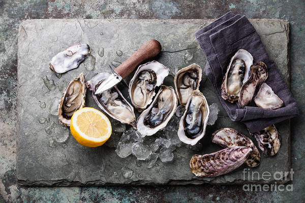 Raw Wall Art - Photograph - Oysters On Stone Plate With Ice And by Lisovskaya Natalia