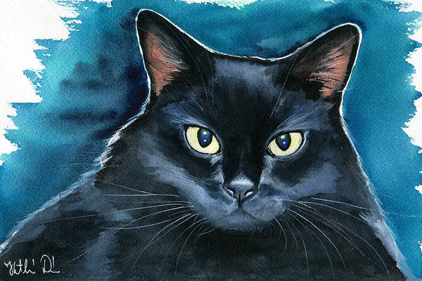 Painting - Ozzy Black Cat Painting by Dora Hathazi Mendes