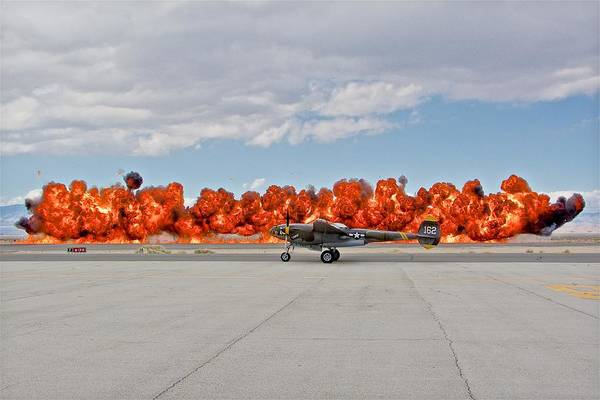 Wall Art - Photograph - P-38 Lightning Wall Of Fire by Hayman Tam