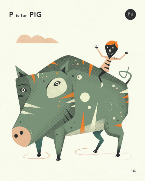 P Is For Pig 2 Art Print